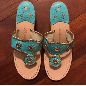 Jack Rogers turquoise/gold wedges